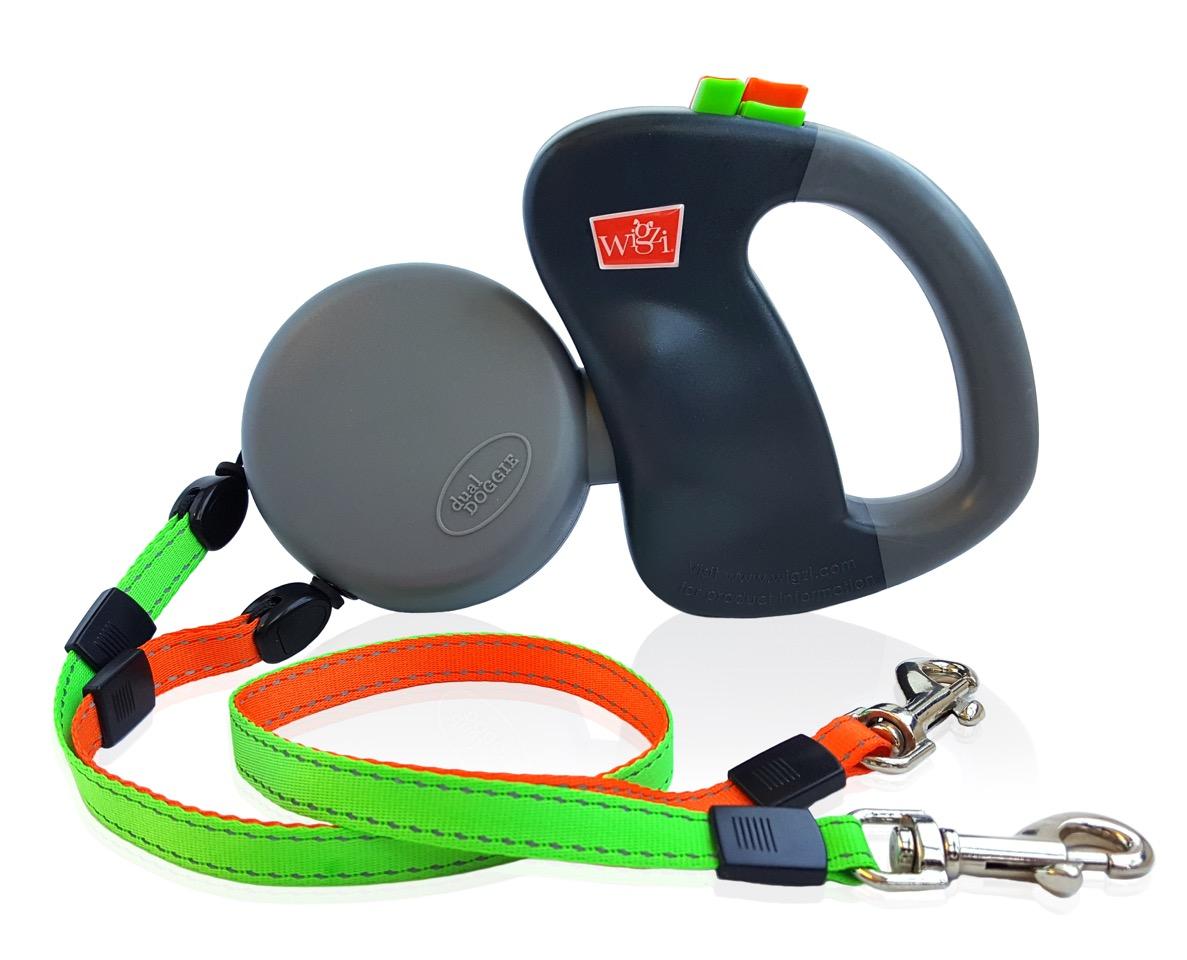 Wigzi dual-doggie duo-rollijn retractable and reflective dual dog leash V2